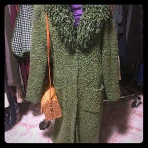 VNTG Green Knit BOHO Long Cardigan Sweater Coat
